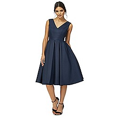 Chi Chi London - Navy 'Zara' v-neck midi prom dress