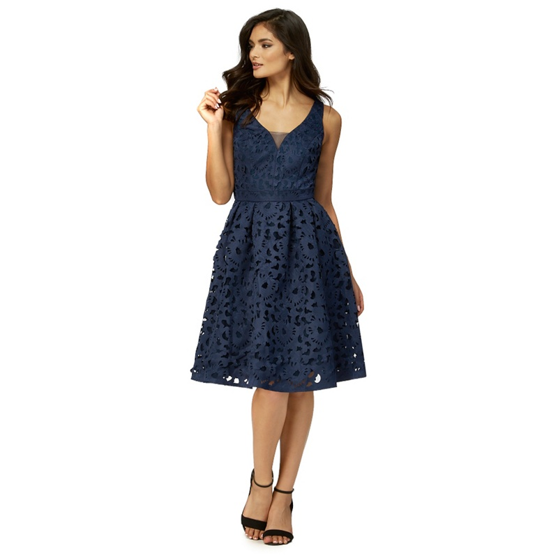 Chi Chi London Navy (Blue) caggie Cut-Out Dress, Womens,