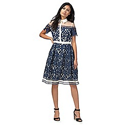 Chi Chi London - Navy 'Dana' knee length tea dress