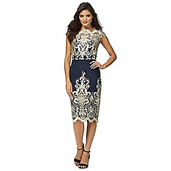 Chi Chi London - Navy lace 'Daliah' knee length pencil dress