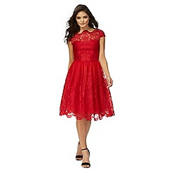 Chi Chi London - Red lace 'Dione' knee length prom dress