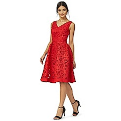 Chi Chi London - Red 'Nisha' v-neck knee length prom dress