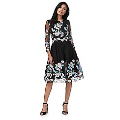 Chi Chi London - Black floral embroidered 'Caitlyn' knee length prom dress