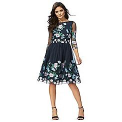 Chi Chi London - Blue floral embroidered 'Claire' knee length prom dress