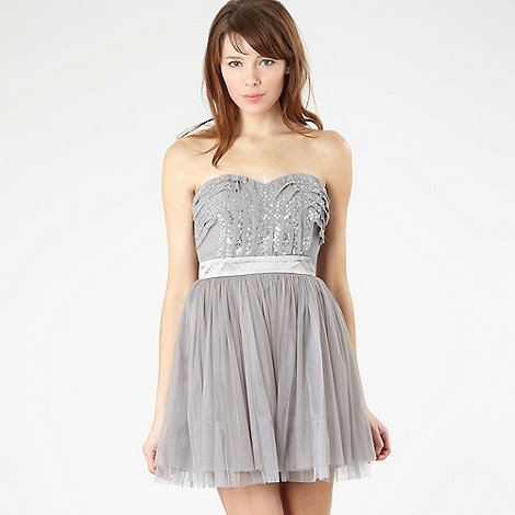 Lipsy - Silver sequin prom dress