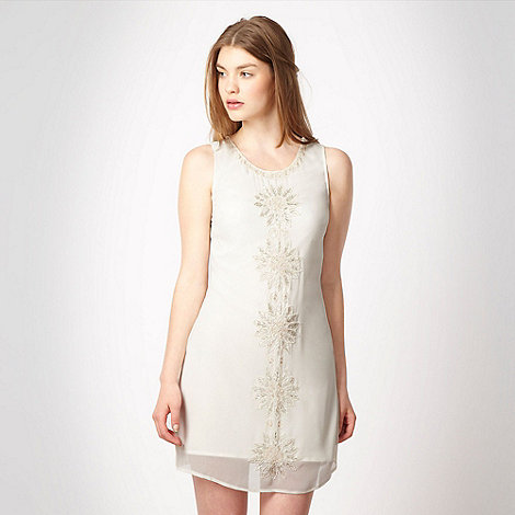 Lipsy - White sequin chiffon shift dress