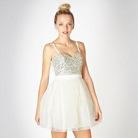 Lipsy - VIP cream sequin bodice prom dress