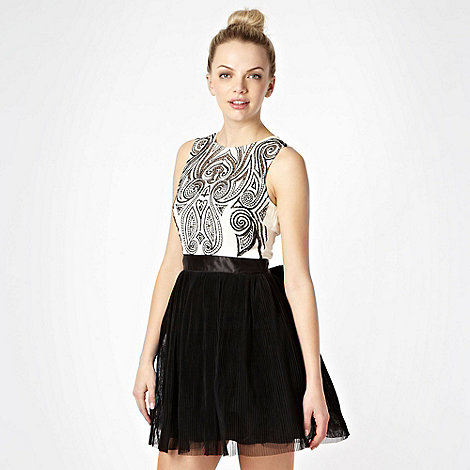Lipsy - Black embroidered top prom dress
