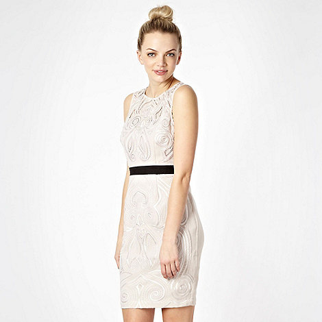 Lipsy - Light pink belted Embellished party dress