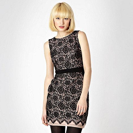 Lipsy - Black flocked lace jersey dress