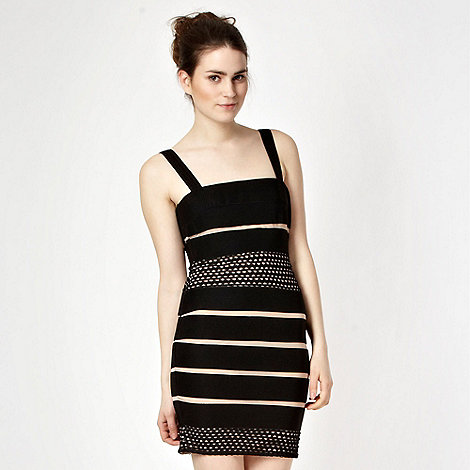 Lipsy - Black textured stripe bodycon dress
