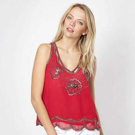 Lipsy - Dark pink beaded floral evening top