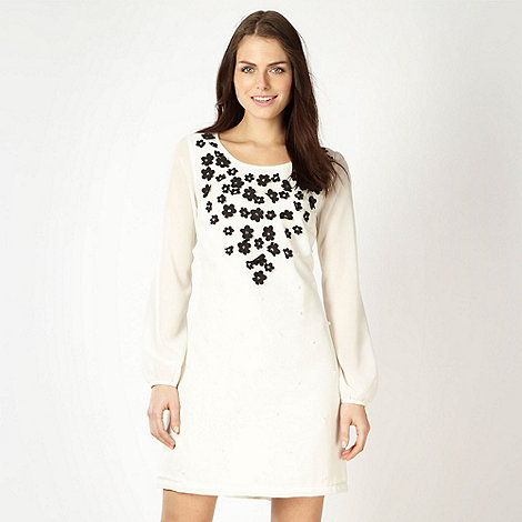 Lipsy - Cream appliqued floral neck party dress