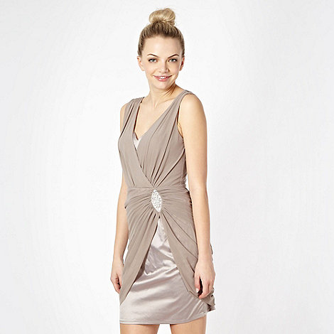 Lipsy - Taupe draped dress