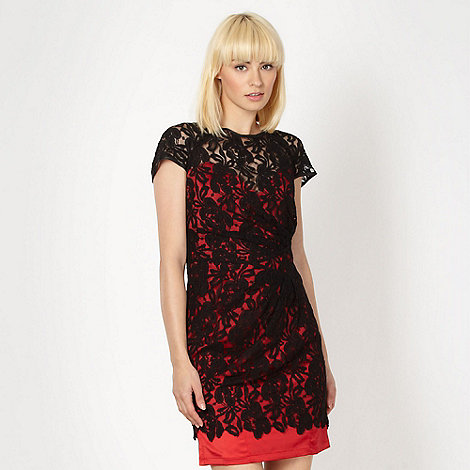 Lipsy - Red lace cap sleeve dress