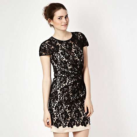 Lipsy - Black lace ruffle waist dress