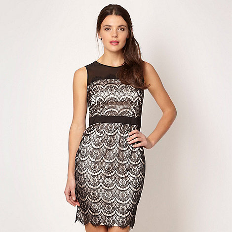 Lipsy - Black lace and satin shift dress