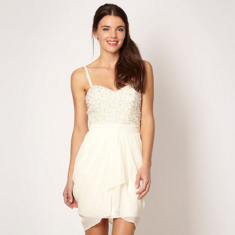 Lipsy - VIP cream embellished bodice bandeau dress