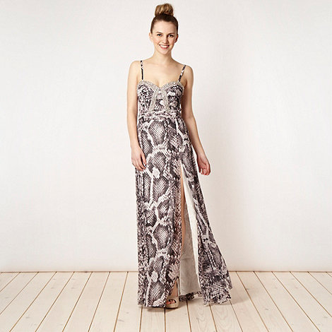 Lipsy - VIP grey snakeskin patterned maxi dress