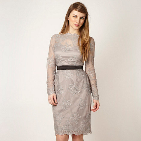 Lipsy - VIP taupe lace long sleeve dress