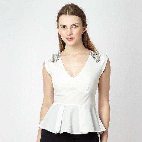 Lipsy - White embellished shoulder peplum top