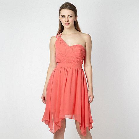 Lipsy - Pink asymmetric hem one shoulder dress