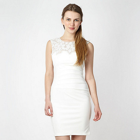 Lipsy - White sequin lace trimmed dress
