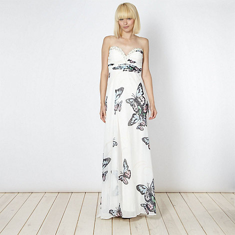 Lipsy - VIP cream embellished butterfly maxi dress
