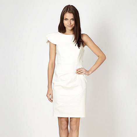 Lipsy - White asymmetric ruffled evening dress
