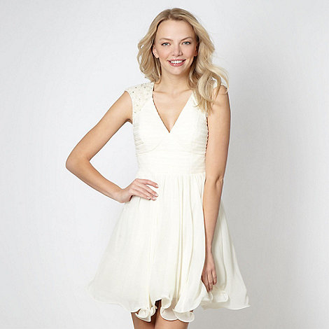 Lipsy - VIP cream embellished shoulder dress