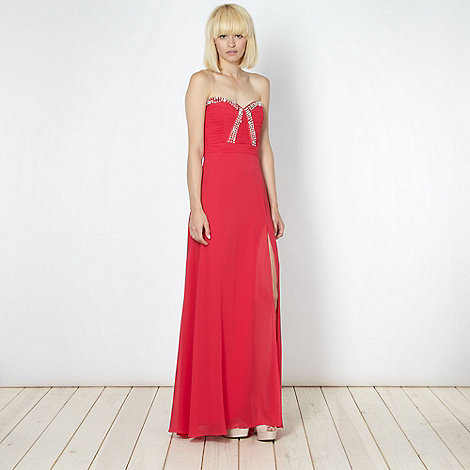 Lipsy - VIP dark pink embellished side split maxi dress