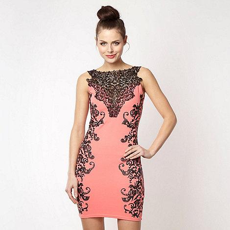 Lipsy - Peach lace patterned jersey dress