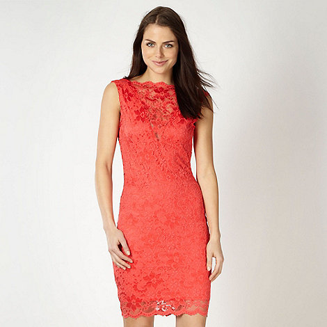 Lipsy - Orange lace jersey dress