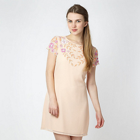 Lipsy - Light peach sequin flower shift dress