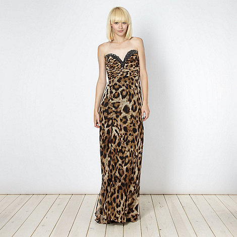 Lipsy - VIP brown embellished animal maxi dress