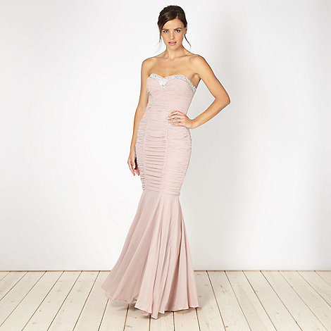Lipsy - VIP pale pink ruched embellished maxi dress