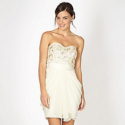 Lipsy - VIP Cream sequin bodice bandeau dress