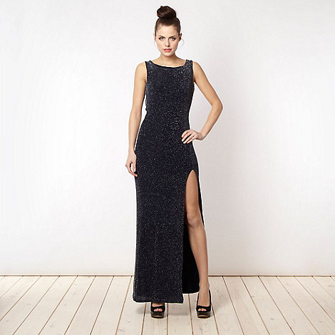 Lipsy - Navy metallic jersey cowl back maxi dress