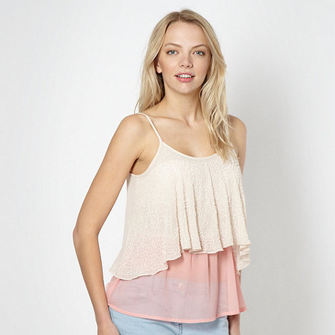 Lipsy - Peach beaded 2-in-1 top