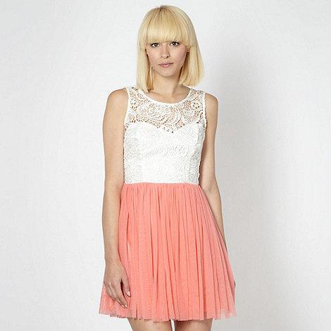 Lipsy - Peach lace mesh skirt dress