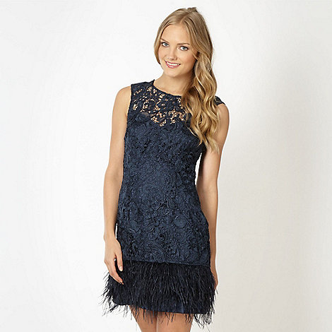 Lipsy - VIP navy lace feather hem dress