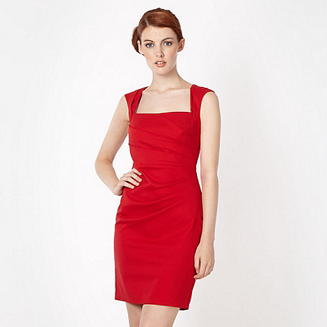 Lipsy - Red diagonal tuck dress