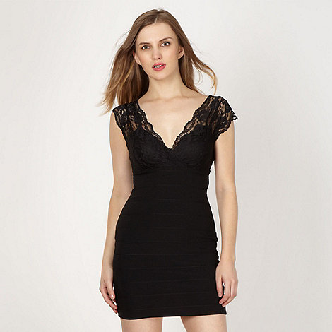 Lipsy - Black lace shoulder bandage dress