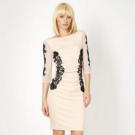 Lipsy - Peach lace trimmed jersey dress