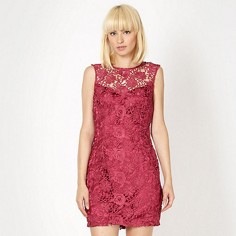Lipsy - Dark pink lace shift dress