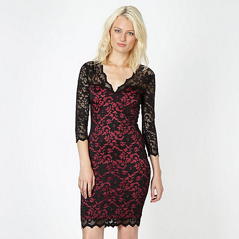 Lipsy - Black V neck lace dress