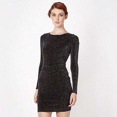 Lipsy - Black metallic keyhole dress