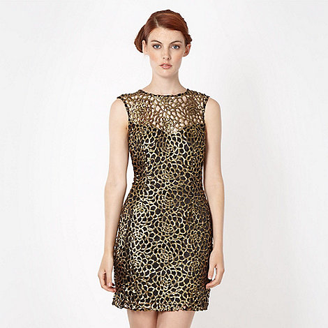 Lipsy - Gold chunky lace dress
