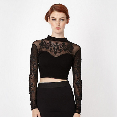 Lipsy - Black embellished crop top