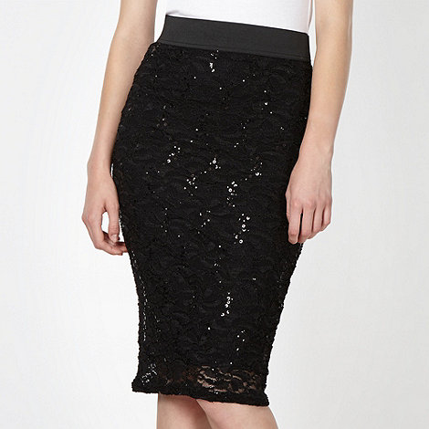 Lipsy - Black sequin lace tube skirt